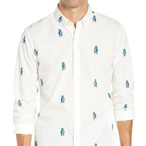 Button Down Slim Fit Robot Print Sport Shirt